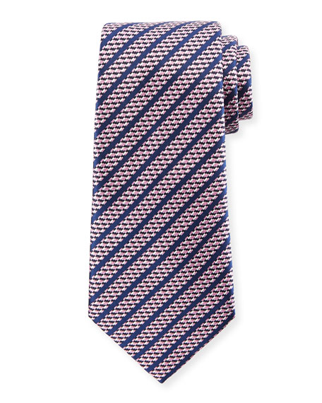 Ermenegildo Zegna Dashed Stripe Silk Tie, Pink