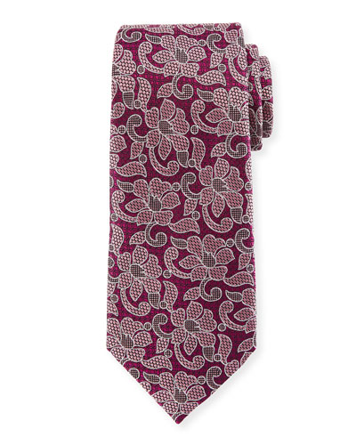Abstract Floral Silk Tie, Purple