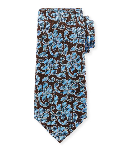 Ermenegildo Zegna Abstract Floral Silk Tie, Blue