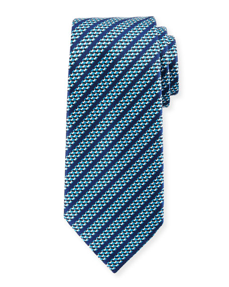 Ermenegildo Zegna Dashed Stripe Silk Tie, Blue