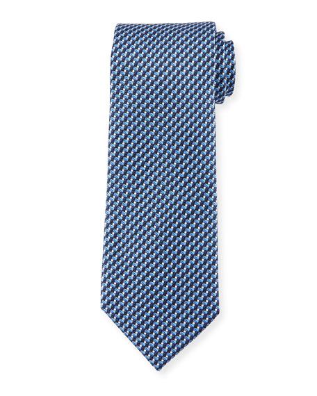 Ermenegildo Zegna Printed Striped Stairs Silk Tie, Blue