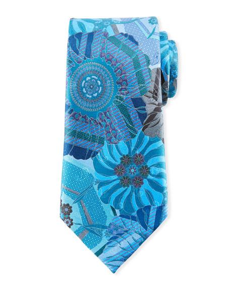Ermenegildo Zegna Quindici Mosaic Silk Tie, Teal