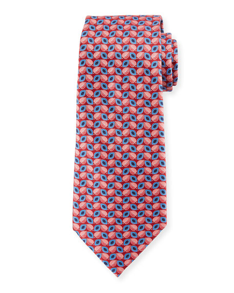 Ermenegildo Zegna Alternating Leafs Silk Tie