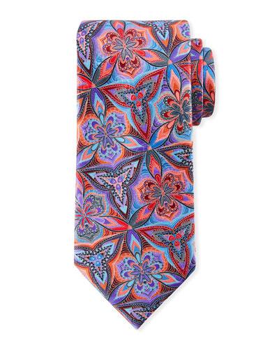 Venticinque Floral Tie  Blue