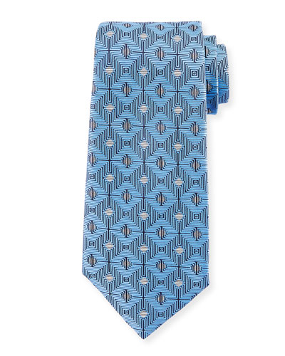 Large Diamond Silk Tie, Blue
