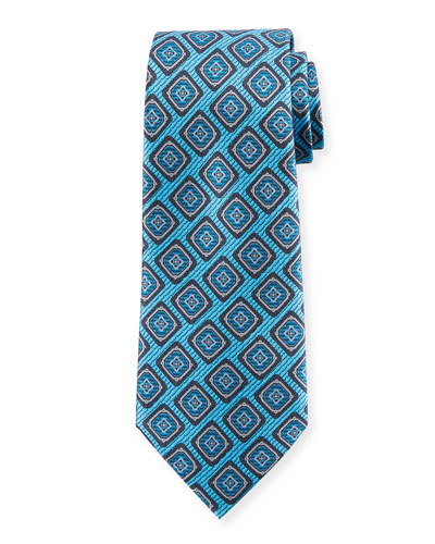 Medallion Silk Tie, Blue
