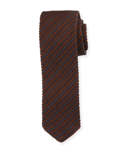 Striped Silk Knit Tie