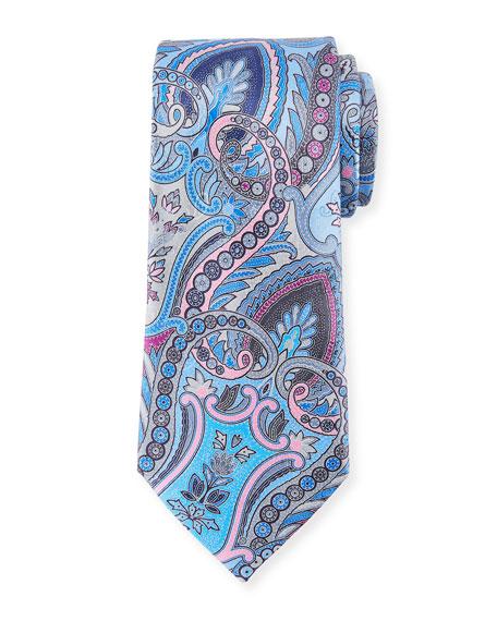 Ermenegildo Zegna Quindici Moroccan Paisley Silk Tie, Blue