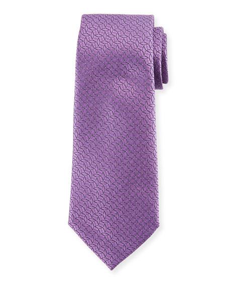 Ermenegildo Zegna Connected Diamond Silk Tie, Purple