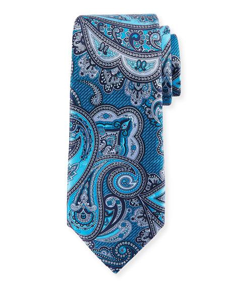 Ermenegildo Zegna Paisley Silk Tie, Blue