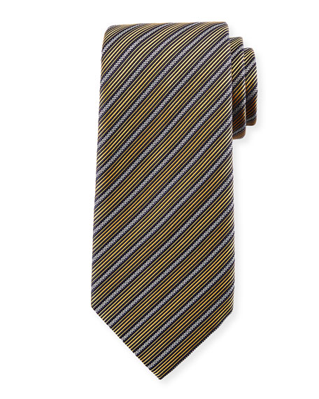 Multi-Stripe Silk Tie, Yellow