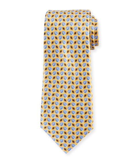 Ermenegildo Zegna Alternating Leaves Silk Tie, Yellow