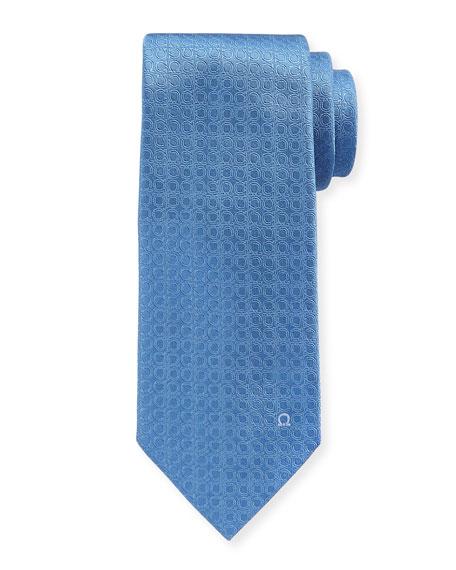 Tonal Gancini Textured Solid Silk Tie