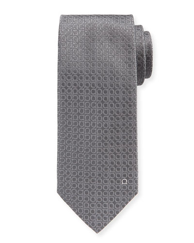 Tonal Gancini Textured Solid Silk Tie, Gray