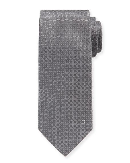 Tonal Gancini Textured Solid Silk Tie, Gray