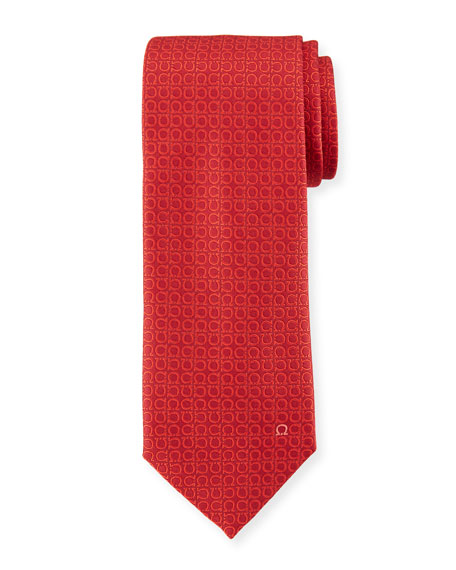 Textured Solid Silk Tie, Red