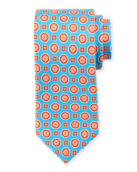 Medallion-Print Silk Tie, Light Blue/Orange