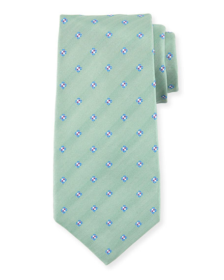 Diamond-Print Silk Tie, Green