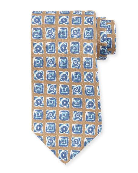 Diamond-Print Silk Tie, Brown