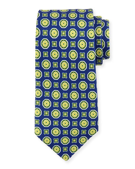 Medallion-Print Silk Tie, Navy/Green