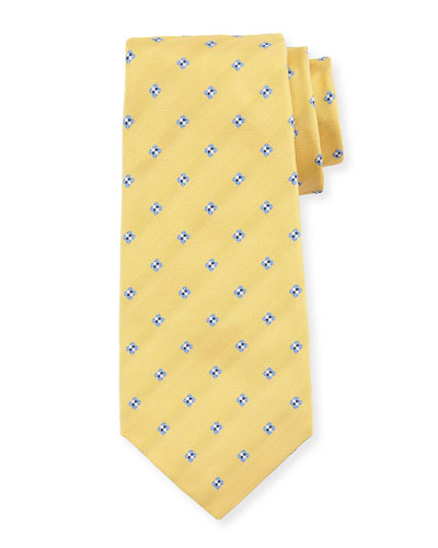Diamond-Print Silk Tie, Yellow
