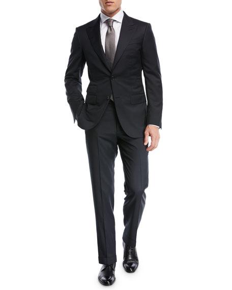 Tonal Plaid Two-Piece Suit, Black
