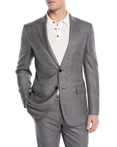 Light Plaid Wool-Blend Two-Piece Suit