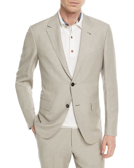 Ermenegildo Zegna Solid Summer Trofeo® Wool/Linen Two-Piece Suit