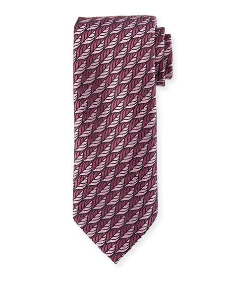 Ermenegildo Zegna Woven Leaves Silk Tie, Purple