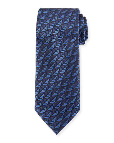 Ermenegildo Zegna Woven Leaves Silk Tie, Blue