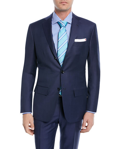 Kiton Sharkskin Wool Two-Piece Three-Button Suit