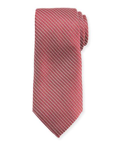 Diagonal Chain Silk Tie, Red