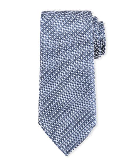 Ermenegildo Zegna Diagonal Chain Silk Tie, Blue