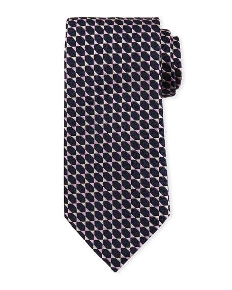 Ermenegildo Zegna Octagons Silk Tie, Pink