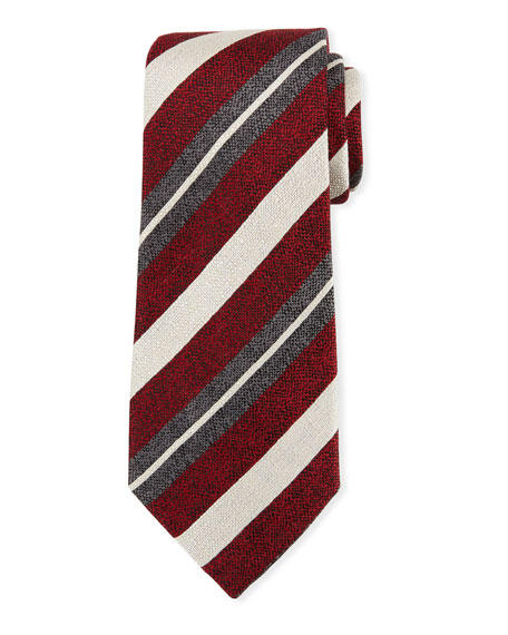 Ermenegildo Zegna Seasonal Stripe Silk-Linen Tie, Red