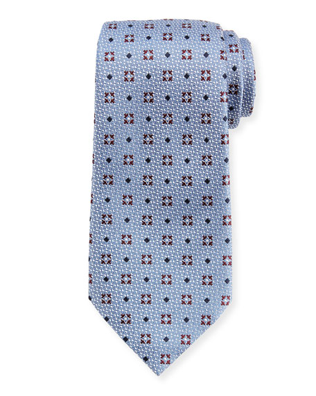 Ermenegildo Zegna Diamond Ground Medallion Silk Tie