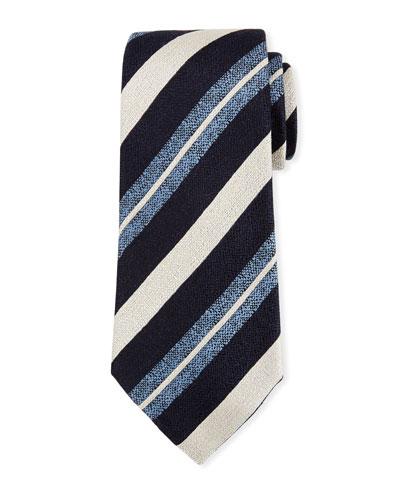 Seasonal Striped Silk-Linen Tie