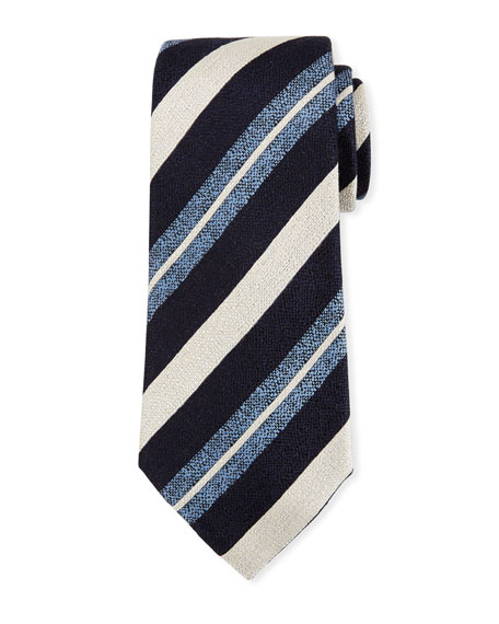 Ermenegildo Zegna Seasonal Striped Silk-Linen Tie