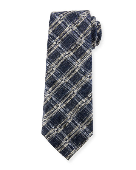Ermenegildo Zegna Seasonal Plaid Silk-Linen Tie