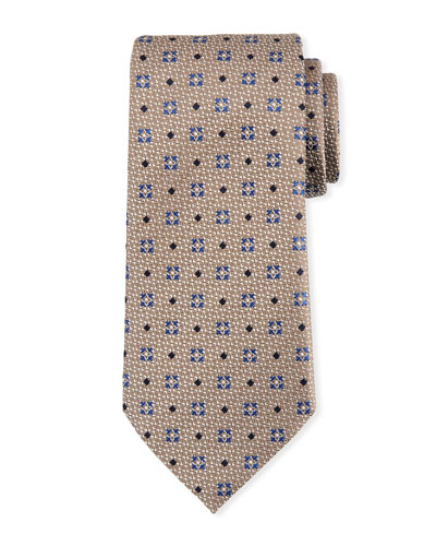 Diamond Ground Silk Tie, Brown