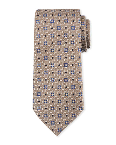 Ermenegildo Zegna Diamond Ground Silk Tie, Brown