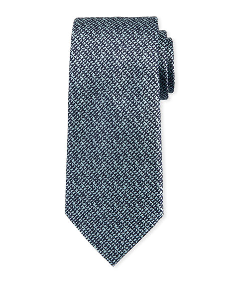 Ermenegildo Zegna Grafiato Checked Silk Tie