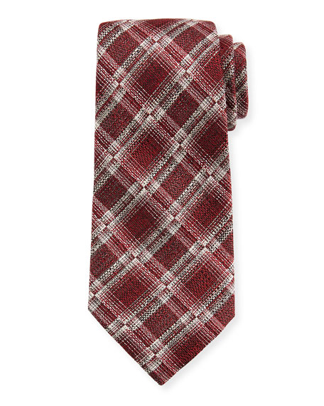 Ermenegildo Zegna Seasonal Plaid Silk/Linen Tie