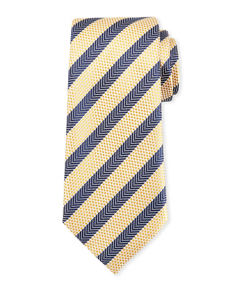 Ermenegildo Zegna Chevron Striped Silk Tie