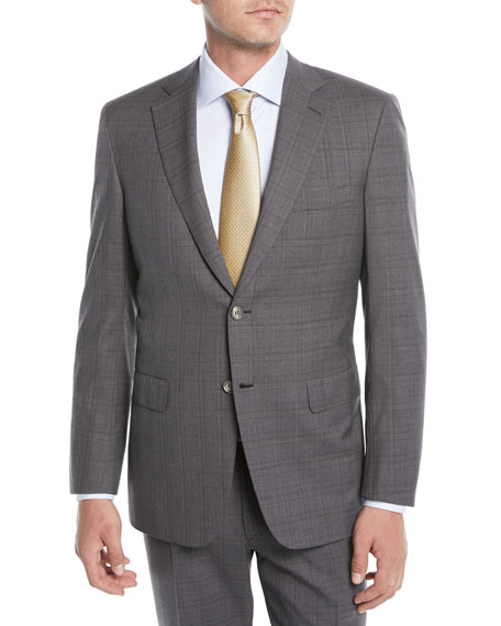 Men's Plaid Wool Two-Piece Suit, Gray