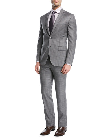 Brioni Gray Plaid Wool Two-Piece Suit