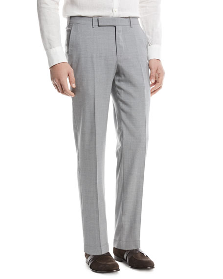 Ermenegildo Zegna High Performance Wool Flannel Flat-Front Trousers
