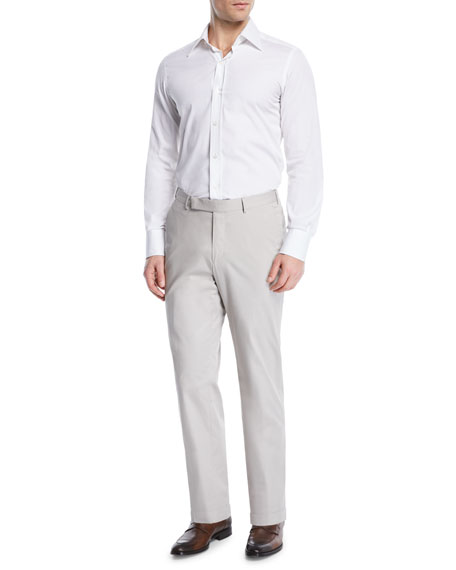 Cotton Flat-Front Dress Pants