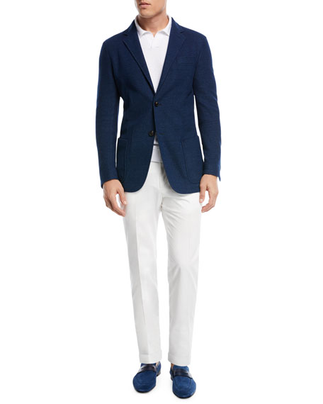 Cotton Twill Flat-Front Trousers
