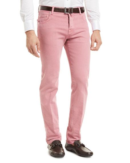 Kiton Denim Five-Pocket Jeans, Red